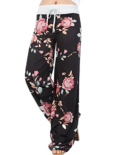 iChunhua Women's Comfy Stretch Floral Print Drawstring Palazzo Wide Leg Lounge Pants(L,Black)