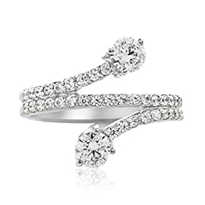 0.65 Ct. Twt Diamond Engagement Fashion Ring Crafted In 14k Solid White Gold