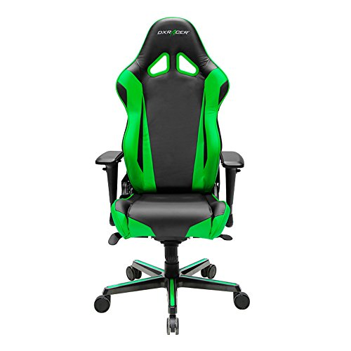 DXRacer Racing Series DOH/RV001/NE Newedge Edition Racing Bucket Seat Office Chair Gaming Chair PVC Ergonomic Computer Chair eSports Desk Chair Executive Chair With Pillows (Black/Green)