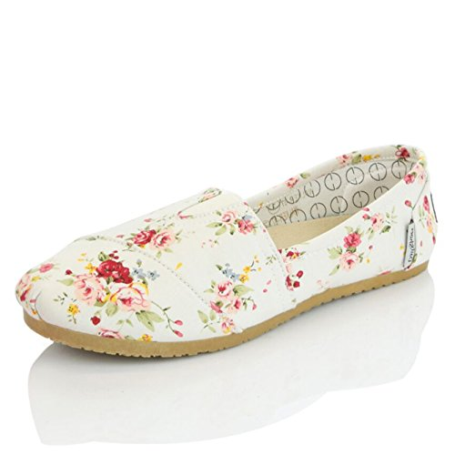 DailyShoes+Women%27s+Classic+Flats+Memory+Foam+Cushioned+Elastic+Gore+Soft+Canvas+Daily+Slip-On+Comfort+Loafer+Casual+Sneaker+Flat+Shoes%2C+Floral+Linen%2C+8+B%28M%29+US