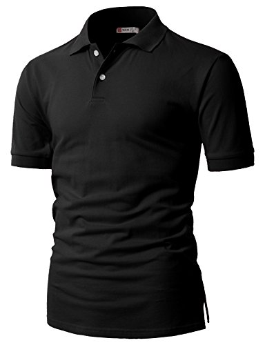 H2H Mens Casual Regular Fit Short Sleeve Pique Advantage Performance Solid Polo Shirts BLACK US XL/Asia 2XL (CMTTS0201)