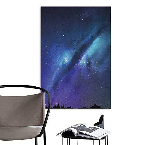 Wall Sticker self-Adhesive Night Milky Way Inspired Nebula Cluster Galaxy Fantastic Cosmos Constellation Aqua Dark Blue Black Bedroom Wall W24 x -