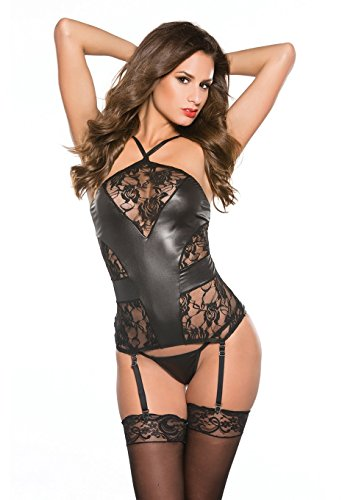 Allure Lingerie Kitten Lace and Wet Look Corset - One Size