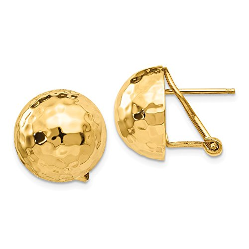- 14K Yellow Gold Hammered Omega Back Post Earrings - (0.55 in x 0.55 in)