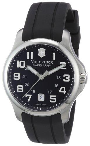 Victorinox Men's 241357 Swiss Army  Officer's Analog Swiss Quartz Black Rubber Watch