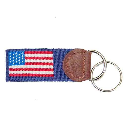 (Islanders Hand-Stiched Needlepoint and Leather Key Fob for Keychains, AmericanFlag/Navy, One)