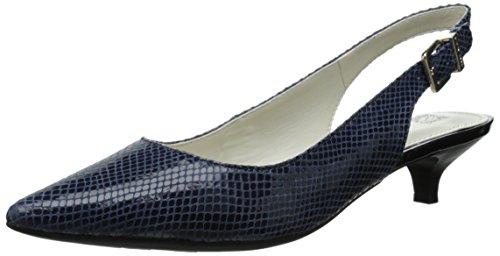 Anne Klein Womens Expert Reptile Dress Pump Navy 7 M US