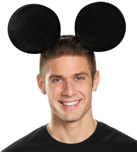 [Mickey Mouse Oversize Ears Adult Accessory] (Mickey Mouse Halloween Costumes For Men)