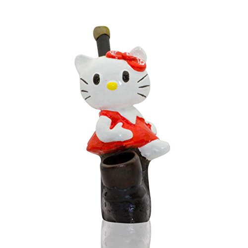 Handmade Tobacco Pipe Cartoons Hand Painted Art Collectible (Hello Kitty)