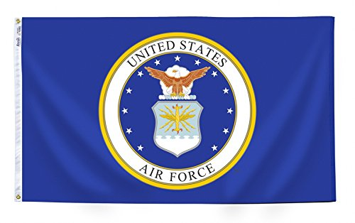 Annin Flagmakers Model 439010 U.S. Airforce Military Flag 3x5 ft. Nylon SolarGuard Nyl-Glo 100% Made in USA to Official Specifications. Officially Licensed Manufacturer. ()