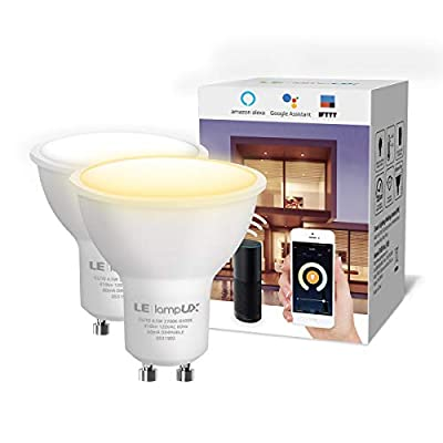 LE LampUX GU10 WiFi Smart Light Bulbs Work with Alexa, Google Assistant, IFTTT, 2.4G WiFi, Tunable White Soft to Daylight, Timer, Dimmable GU10 LED Bulb Replace 50W Halogen, No Hub Required, Pack of 2