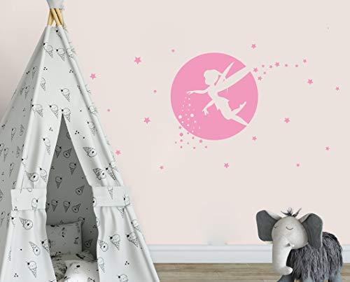 (Fairy Wall Decals, Girl Room Decor, Nursery Wall Decals, Fairy Wall Stickers for Bedroom, Wall Decor Bedroom, Moon and Star Wall Decor(Y34) (Soft Pink))