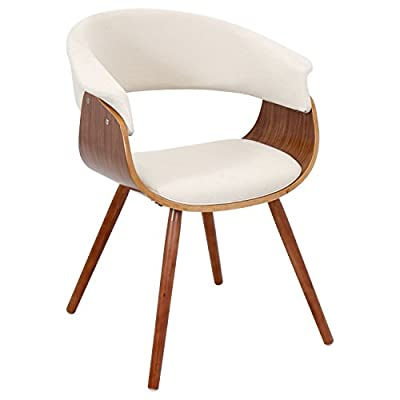 LumiSource Walnut/Cream Vintage Mod Accent Chair CHR-JY-VMO-WL - Dimensions: 24.5W x 20.5D x 29.5H in.; Seat: 17.5H in. Wood frame in walnut finish Fabric upholstery in choice of available colors - living-room-furniture, living-room, accent-chairs - 41VY 1mdEkL. SS400  -