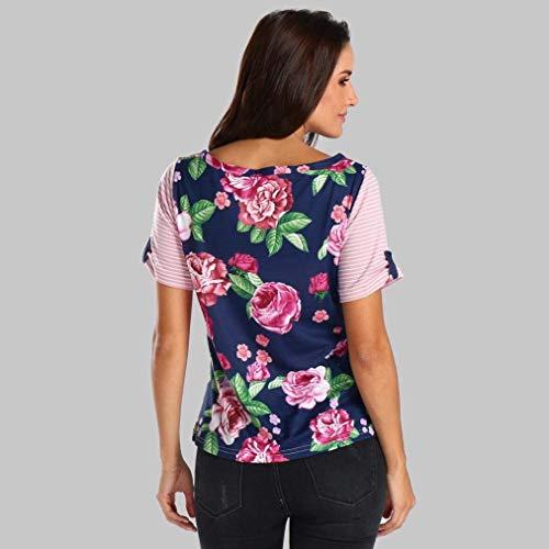Chic Blouse Fleurs Impression Avant Rose T Et Costume Manches Casual Courtes Haut Pinstripe Col Shirts Tops Femme Chemisiers Rond Mode Elgante Poches Branch nZwzvaqx4C