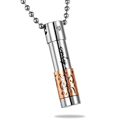 (HooAMI Stainless Steel only Love Flower Cylinder Cremation Urn Necklace Rose Gold Silver)