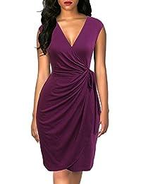 Berydress Women Classy Cap Sleeve V Neck Draped Belt Knee-Length Faux Wrap Dress