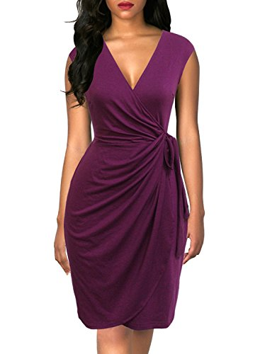 Berydress Women's Classic Cocktail Party Cap Sleeve Deep V Neck Draped Waist Tie Belt Knee-Length Faux Wrap Dress (S, 6028-Purple)