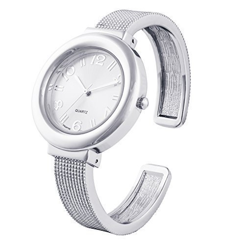 Silver Mesh Like Ladies Bangle/Cuff Watch with Sunray Dial