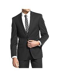 DKNY Mens Wool Slim Fit Two-Button Blazer Black 46R