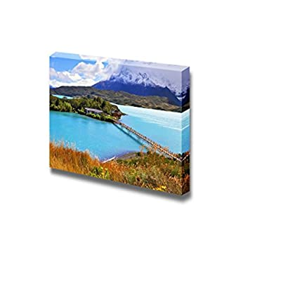 Canvas Prints Wall Art - Beautiful Landscape/Scenery Picturesque Little Island in The Lake Pehoe | Modern Wall Decor/Home Art Stretched Gallery Canvas Wraps Giclee Print & Ready to Hang - 16