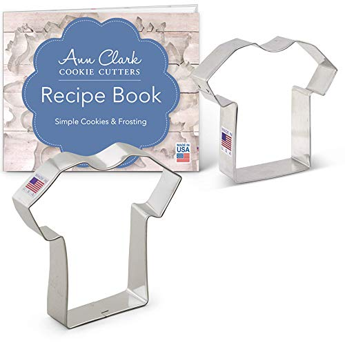 - T-Shirt/Jersey Cookie Cutter Set with Recipe Booklet - 2 piece - Ann Clark - Tin Plated Steel