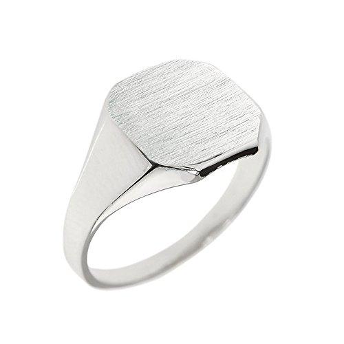 Octagonal Signet Ring - Men's 14k White Gold Engravable Cut Corner Square Octagonal Top Narrow Band Signet Ring (Size 16)