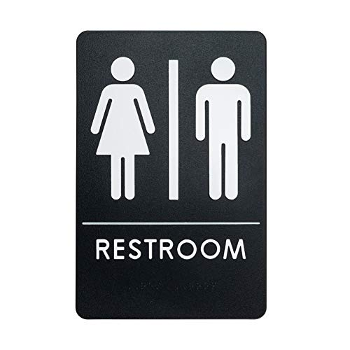 Unisex Restroom Sign, ADA-Compliant Bathroom Door Sign for Offices, Businesses, and Restaurants - | Made in USA | Rock (Light Wall Mount Three Ada)