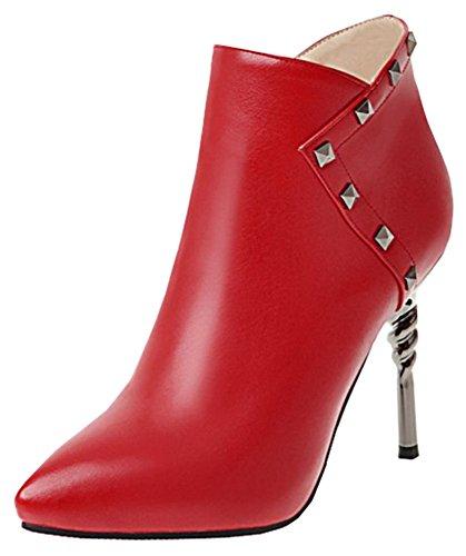 Idifu Kvinners Elegant Piggdekk Spiss Tå Side Glidelås Høy Stiletthæl Ankel Boots Red