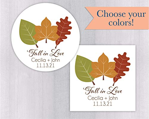 Fall Invitation Leaves Wedding (Wedding Invitation Return Address Label, Fall Leaves Return Address Sticker, Round Address Label (#042-3-WH))