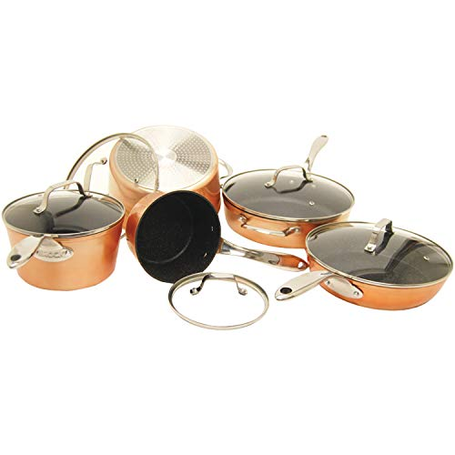 (THE ROCK by Starfrit 030910-001-0000 10-Piece Cookware Set, Copper)
