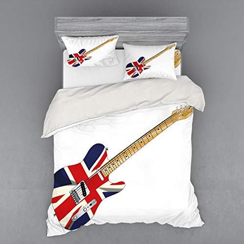 Ambesonne Union Jack Bedding Set, Classical Electric Guitar UK Flag Britain Music Instrument, 4 Piece Duvet Cover Set with Shams and Fitted Sheet, Queen Size, Pale Brown Grey Black (Grey And Black Union Jack Bedding Sets)