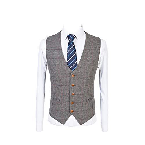 Mens Premium Wool Blend Tweed Herringbone Slim Fit Wedding Tuxedo Waistcoat Suits Vest Grey ()