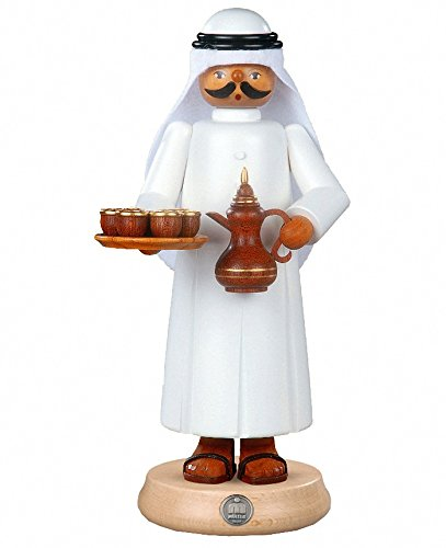 (	 Müller German incense smoker Arab with smoking coffeepot and 7 cups, height 27 cm / 11 inch, original Erzgebirge by Mueller Seiffen )