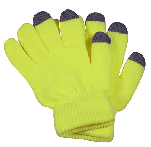 Price comparison product image Peach Couture Bright Neon Texting Winter Gloves For iPhone iPad Android Any Touch Screen Neon Yellow