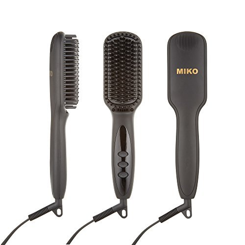 Price comparison product image Professional Hair Straightening Brush By Miko With MCH Heating Technology, Ceramic Hair Straightener, Adjustable Temperature, Auto Lock, And Anti Scald Functions For Silky, Natural, Frizz Free (MK2)