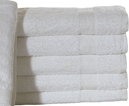 (5 Dozen) 60 PCS NEW WHITE 20X40 100% COTTON ECONOMY BATH TOWELS SOFT & QUICK DRY by Gold Textiles