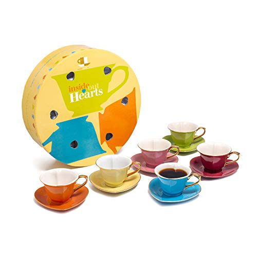 Classic Coffee & Tea Inside Out Heart Cups & Saucers, Set of 6, Assorted/Gold, 3 ()