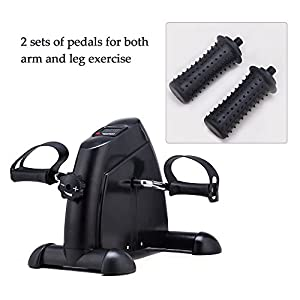 Pinty Pedal Exerciser Two Pedals Mini Exercise Bike Portable Under Desk Mini Cycle Bike Legs & Arms Exerciser with LCD Display