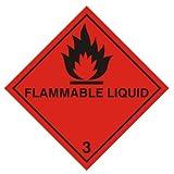 Hazard Sign - Flammable Liquid Sticker (Diamond) 100x100mm