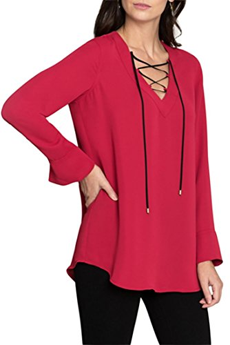 NIC+ZOE Women's Criss Cross All Tied up Top - True Red - (All Tied Up Top)