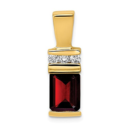 - 14K Yellow Gold 8x6mm Emerald Cut Garnet AA Diamond Slide Pendant from Roy Rose Jewelry