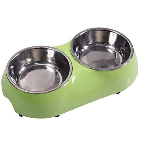 Cat and Little Dog Stainless Steel Double Diner Food Water Bowl Green Small