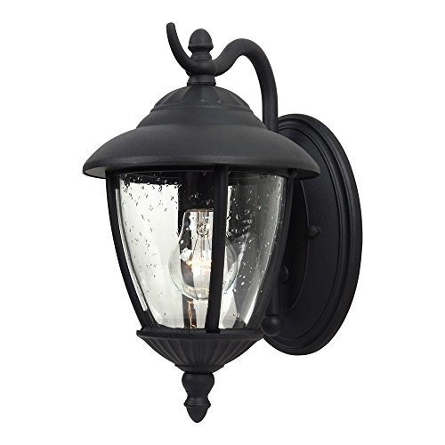 Clear Glass Seeded Oxford (Sea Gull Lighting 84069-12 Lambert Hill One-Light Outdoor Wall Lantern with Clear Seeded Glass Panels, Black Finish)