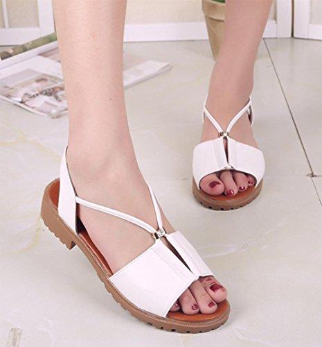 Flache Sandalen weiblichen Studenten groben Fischkopf Schuhe der Frauen White