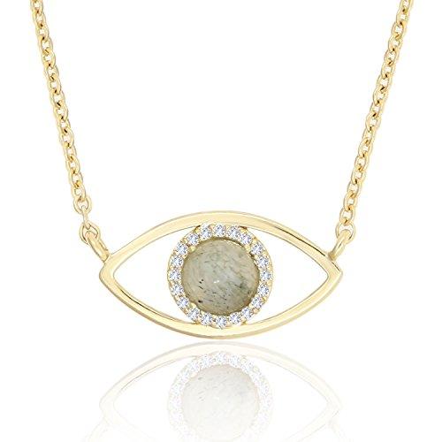 KISSPAT 14K Gold Natural Labradorite Stone Evil Eye Necklace Pendant Jewelry for Women