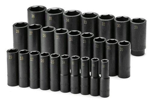 SK Hand Tools 4047 26-Piece 1/2-Inch Drive 6 Point Deep Metric Impact Socket Set