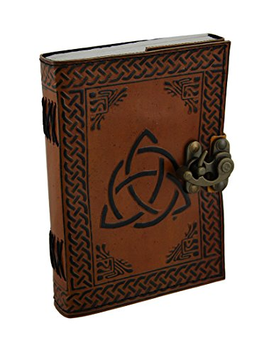 (Triquetra Two-Tone Brown Embossed Leather Bound Journal 5x7 in.)