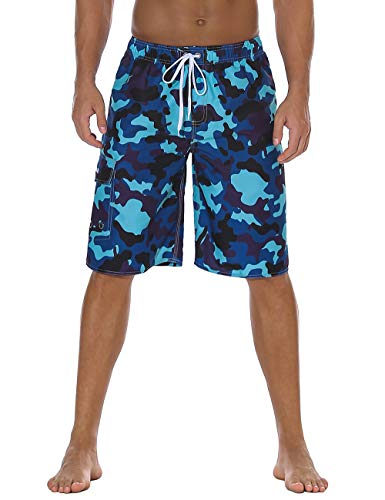 Nonwe Men's Bathing Suits Quick Dry Beach Vacation Camouflage Beachshort Drawsting Light Blue 34 -