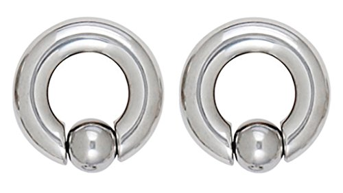 Pair of Surgical Steel Larger CBR/BCR Captive bead Ring lip, belly, nipple, cartilage, tragus, septum, earring hoop - 0g , 5/8
