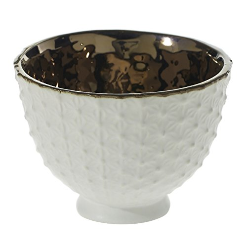 (White Ceramic Compote Vase - 4.25 x 3.25 Inches - Pierre Compote Textured Pot w/ Shiny Brass Interior - Modern Planter Decor for Home or Office)